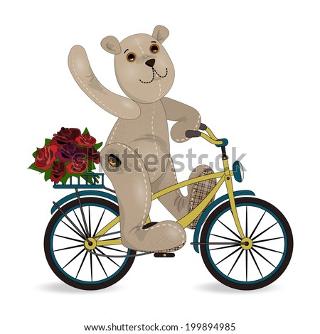 the bear on a bike with a bouquet of roses