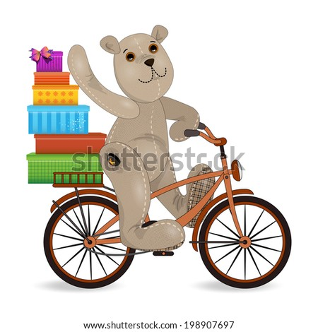 the bear on a bike with gifts