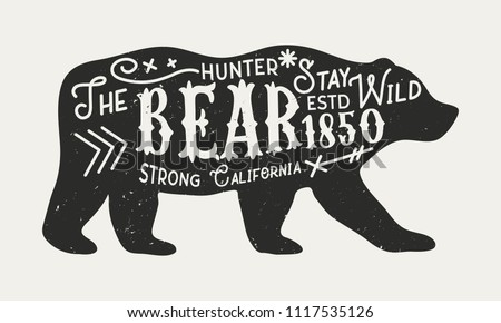 free vector bear silhouette illustration with typography download