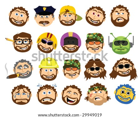 The Bearded Cartoon Dad Collection - Vector Illustration