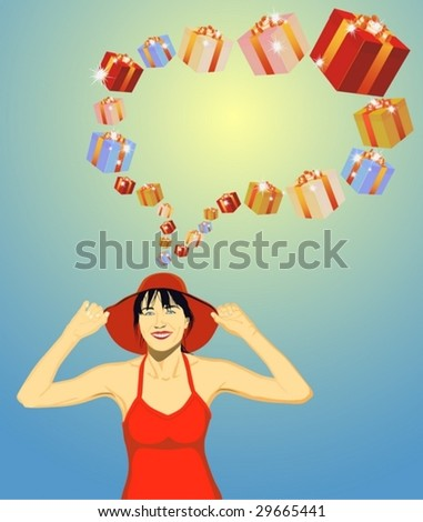 The beautiful brunette dreams of gifts.  Look still variants in my portfolio.