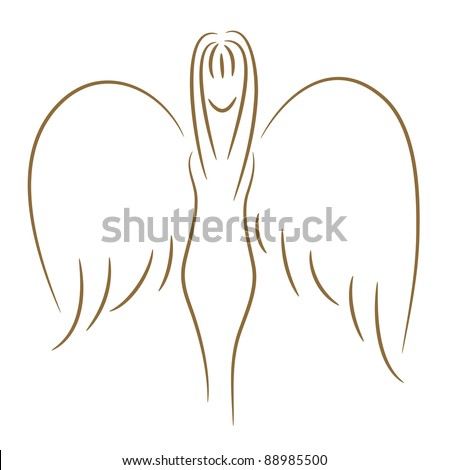 The beautiful sketch of the girl with wings (angel) a gold brush