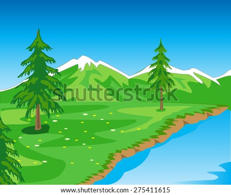 The Beautiful year landscape seeshore.Vector illustration natures