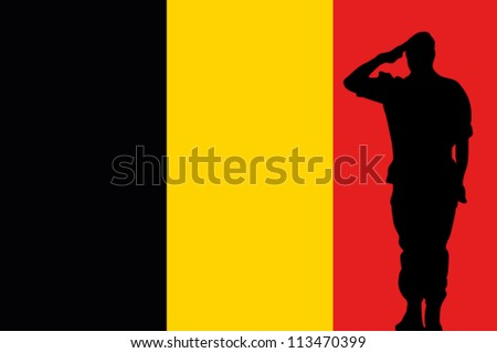 The Belgium flag and the silhouette of a soldier saluting - stock vector
