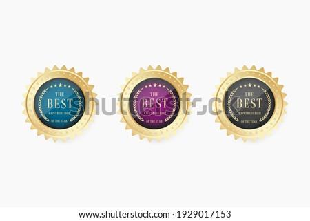 the best contributor gold medal vector, gold medal, winner medal, winner award. Stock photo ©