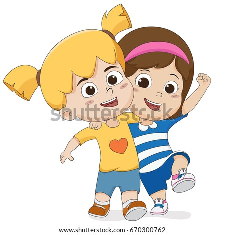 The best friends walking together on the street.Vector and illustration.