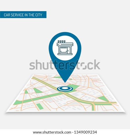 The best location pin of the store location on the city map. Icon location of the icon image of the best cafes in the city. Mobile application navigating the city with pins cafes, restaurants, shops