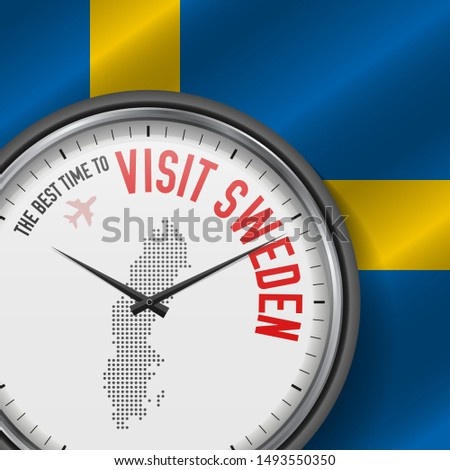 The Best Time to Visit Sweden. Travel to Sweden. Tourist Air Flight. Waving Flag Background and Dots Pattern Map on the Dial. Vector Illustration.