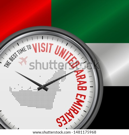 The Best Time to Visit United Arab Emirates. Travel to United Arab Emirates. Tourist Air Flight. Waving Flag Background and Dots Pattern Map on the Dial. Vector Illustration.