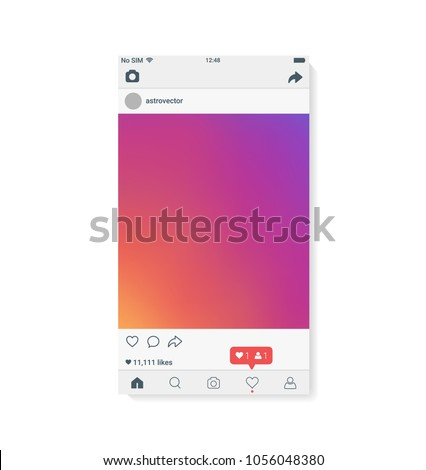 The Best UI Design for mobile app. Interface template. Realistic smartphone with instagram on screen. Vector illustration EPS10.