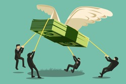 The Big Collaboration project. Businessman catch money shaped like a giant bird will fly away.