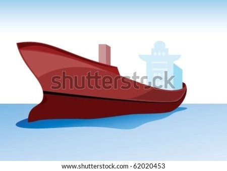The big export ship on water