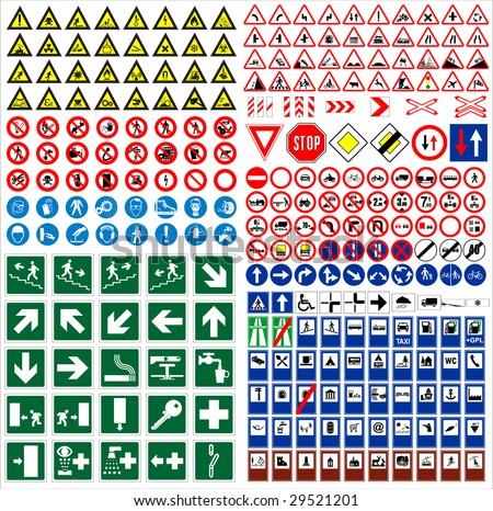 The big sign collection traffic, work, safety, harmful & other vector signs
