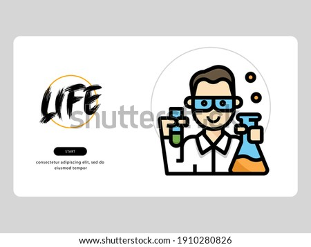 The biochemist avatar on an professions-themed white background is perfect for learning materials and visual illustration on digital products Foto stock ©