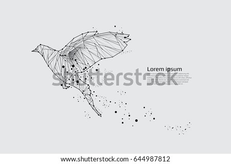 Stock Photo The bird flying with motion and effect. line dot design. vector illustration