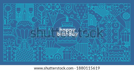 The Birthday Background. Birthday Background. Pattern of holiday elements, geometric patterns cupcake with a candle, a gift, a birthday cake.