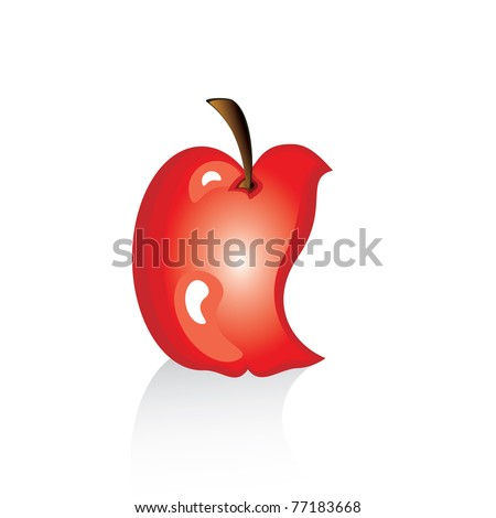 The bitten off red apple. Illustration on white background