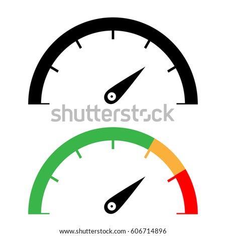 The black and color speedometer icon set.