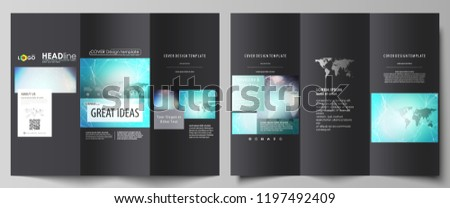 The black colored minimalistic vector illustration of the editable layout of two creative tri-fold brochure covers design templates. Molecule structure, connecting lines and dots. Technology concept.