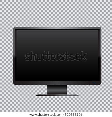 The black computer monitor on transparent background