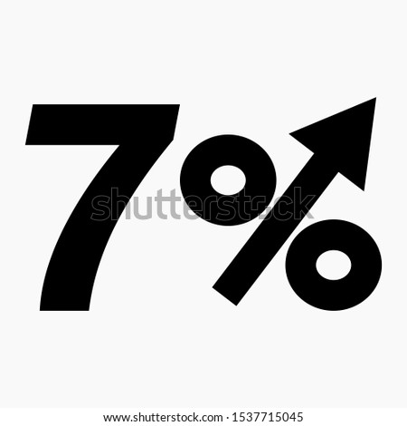 The black figure is 7  percent increase. Price increase icon. Sales. Profit growth. Increase revolutions. The increase in interest in the bank. Quality improvement. Icon of internet shops. Vector icon