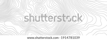 The black on white contours vector topography stylized height of the lines. The concept of a conditional geography scheme and the terrain path. Ultra wide. Map on land vector terrain Illustration. Foto stock ©