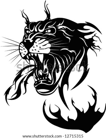 The black panther on a white background, vector illustration