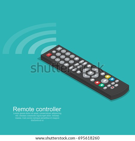 The black remote control with a signal.Isometric flat design.3D style. Vector illustration.