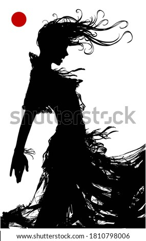 The black silhouette of a sinister vampinar woman, in a torn dress, stands in profile and bares her sharp teeth. 2D illustration.  Photo stock ©