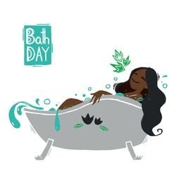 The black skin girl in a bath. Illustration about hygiene and caring for body. Cartoon flat style. Happy afro american character.