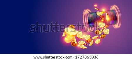 The black slot machine wins the jackpot 777 on the background of an explosion of coins. Vector illustration Photo stock ©