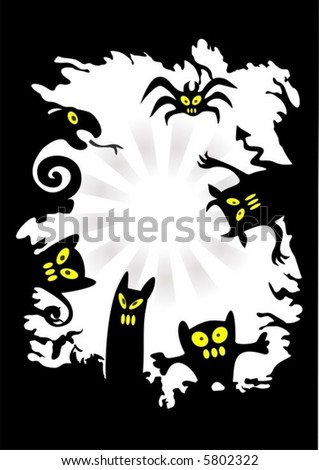 The black stylized monsters on a white grunge background. Symbols of a Halloween.