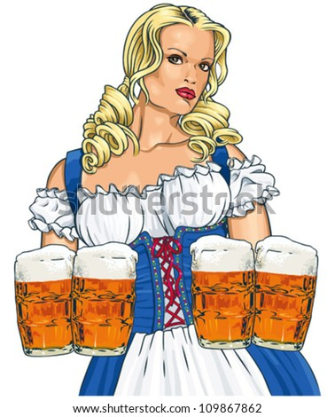 the blonde girl with beer in a