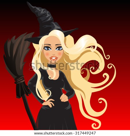 the blonde witch in a black