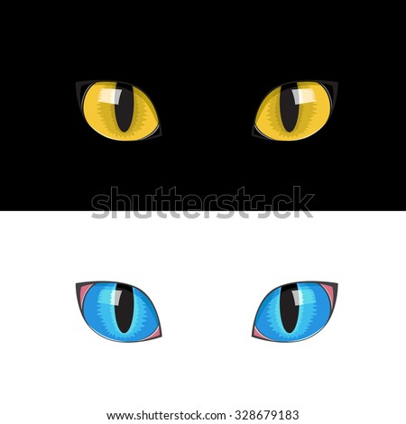 the blue and yellow cat eyes on