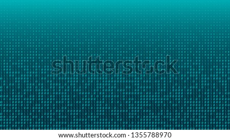 The blue bytes of the binary code forming a background pattern with optical flares