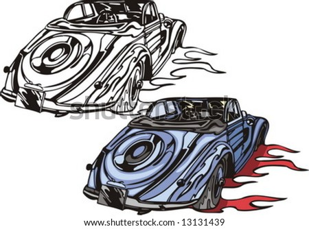 The blue car without top with a spare wheel. Flaming hotrods. Vector illustration - color + b/w versions.