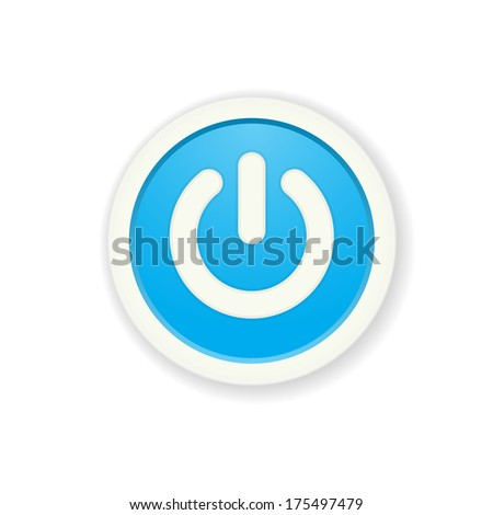 the blue circle button with standby icon /  the power button /  standby mode pictogram #175497479