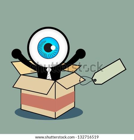 The blue eye happy in gift box