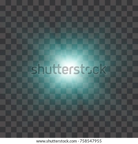 The blue glowing light explodes with a blast with a transparent one. Vector illustration for perfect effect with sparkles. Bright Star. Transparent shine of the gloss gradient, bright flash. Texture o
