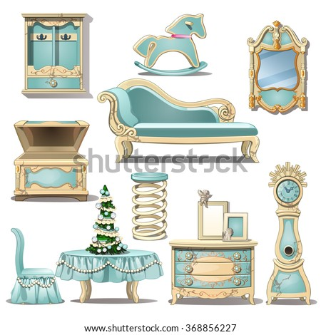 the blue room interior in retro