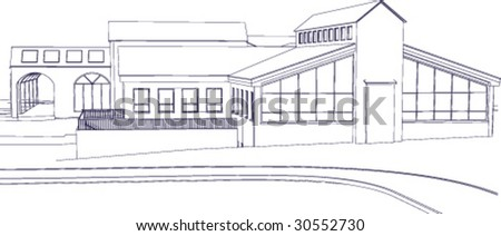 The blueprint of an administrative building or a nursing home, etc. - stock vector