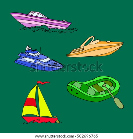 the boat set vector