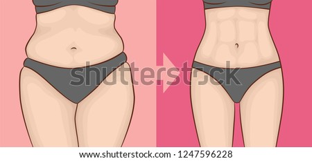 the body of a woman before and