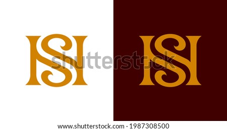 the bold and beautiful letter HS , NS infinity monogram in incredible luxury and classy style, elegant stylish letter S and N logo template for a high-end brand personality Stock fotó ©