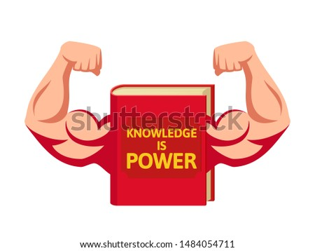 The book is a powerful source of knowledge. Knowledge is power. Vector illustration, flat design, cartoon style. Isolated on white background. Front view.