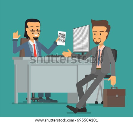 The boss and the subordinate are discussing the document. Vector illustration, a flat style design.