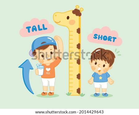 The both boy measuring their height.Boy drinking milk taller than another boy. compare, tall and short,Growth up