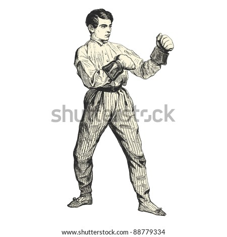 The boxer - Vintage engraved illustration -