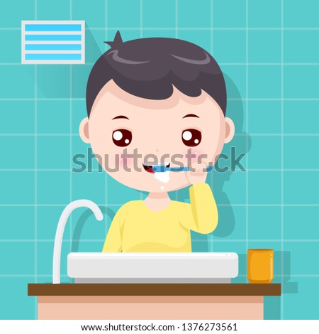 The boy brushing teeth #1376273561